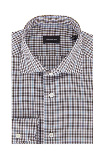 Ermenegildo Zegna - Brown Mini Check Standard Fit Dress Shirt