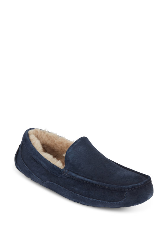 Ugg Ascot Navy Blue Suede Shearling Lined Slipper