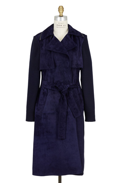 Derek Lam - Navy Blue Suede Combo Trench Coat