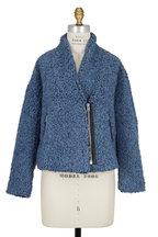 IRO - Daney Light Blue Looped Knit Zip Jacket