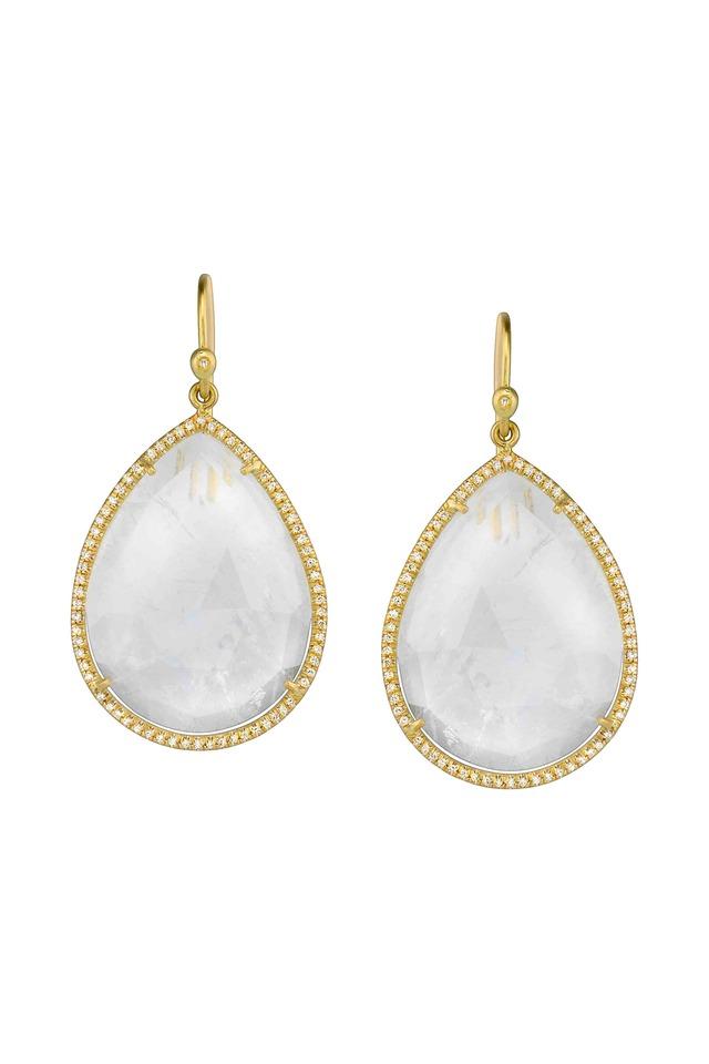 Gold Rose-Cut Rainbow Moonstone Diamond Earrings