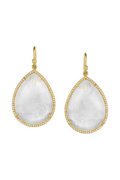 Irene Neuwirth - Gold Rose-Cut Rainbow Moonstone Diamond Earrings