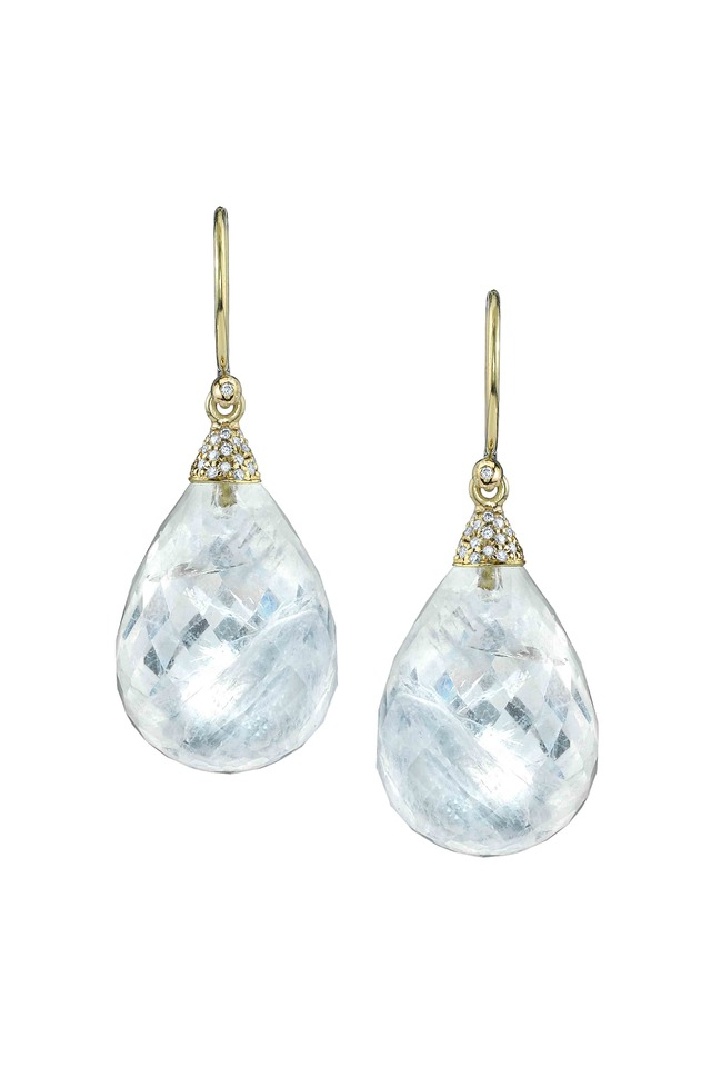 Gold Rainbow Moonstone & Pavé-Set Diamond Earrings