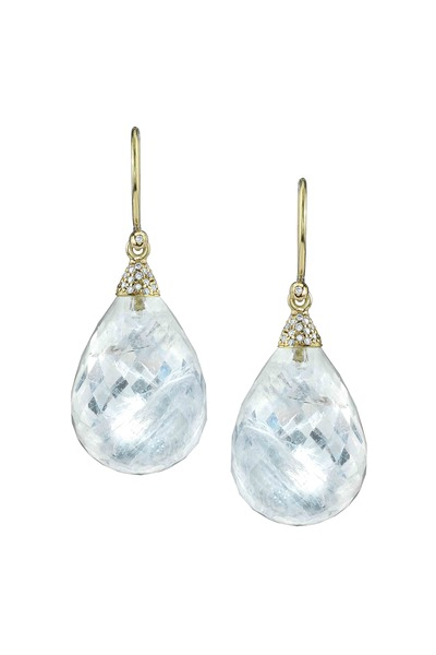 Irene Neuwirth - Gold Rainbow Moonstone & Pavé-Set Diamond Earrings