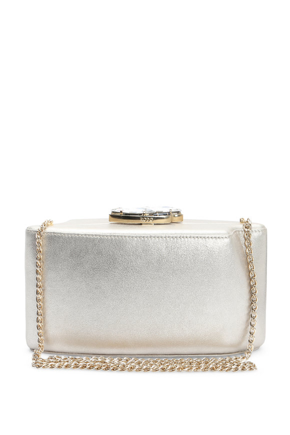 Rodo Firenze Gold Metallic Burma Trapezoid Chain Clutch