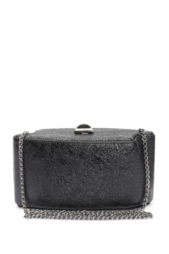 Rodo Firenze Black Metallic Crinkle Trapezoid Chain Clutch