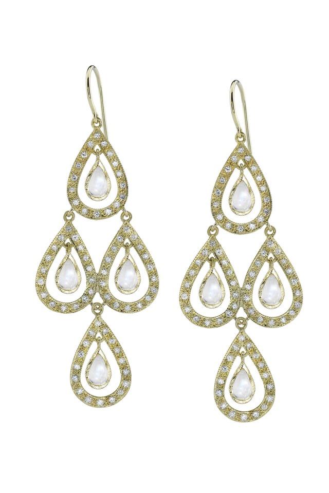 Gold Rainbow Moonstone Diamond Drop Earrings