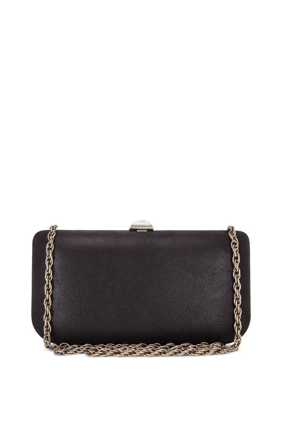 Rodo Firenze Black Burma Suede Chain Clutch