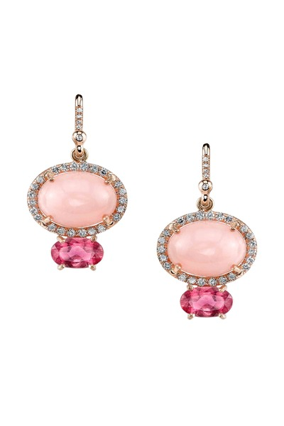 Irene Neuwirth - Rose Gold Pink Opal Tourmaline Diamond Earrings