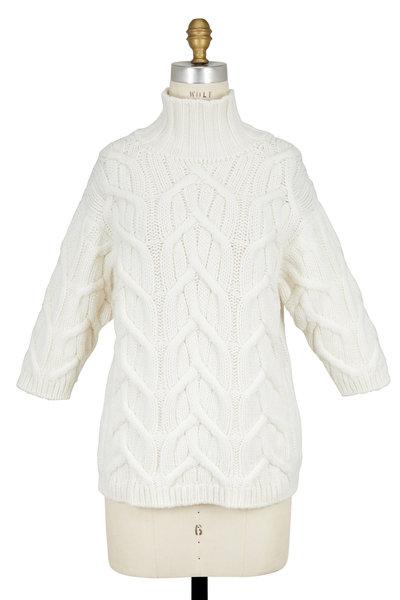 Agnona - White Cashmere Cable Back Zip Sweater