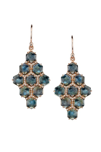 Irene Neuwirth - Rose Gold Labradorite Diamond Earrings