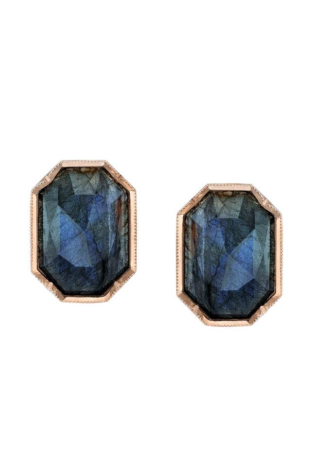 Rose Gold Labradorite Rose-Cut Diamond Earrings