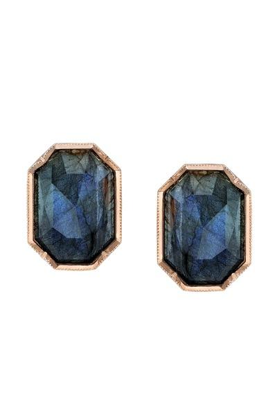 Irene Neuwirth - Rose Gold Labradorite Rose-Cut Diamond Earrings