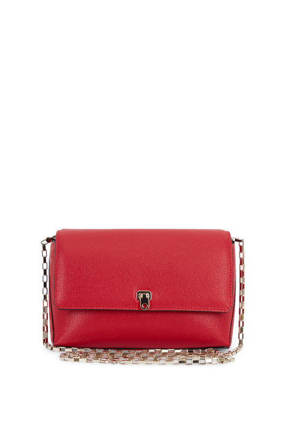 Valextra City Red Leather Small Chain Crossbody