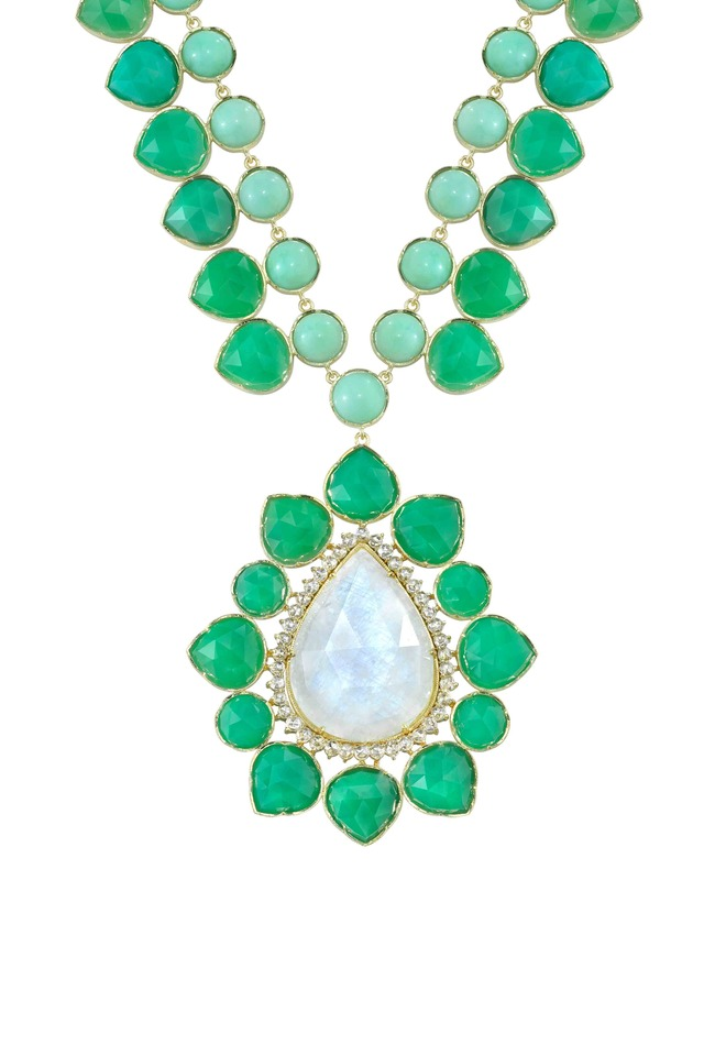 Gold Moonstone Chrysoprase Diamond Pendant