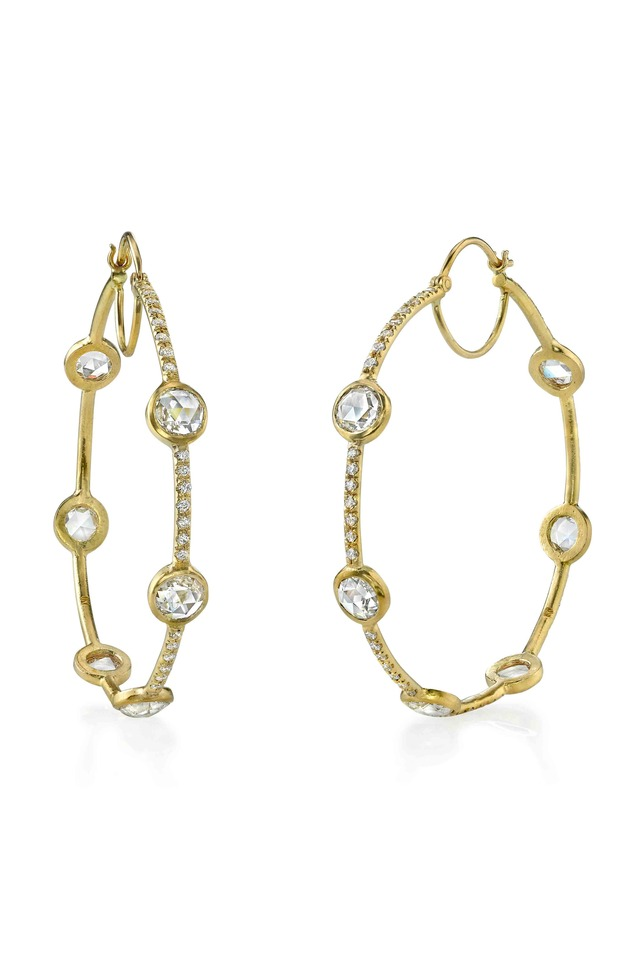 Gold Pavé-Set Rose-Cut Diamond Hoop Earrings