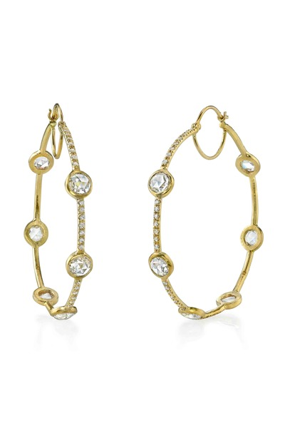Irene Neuwirth - Gold Pavé-Set Rose-Cut Diamond Hoop Earrings