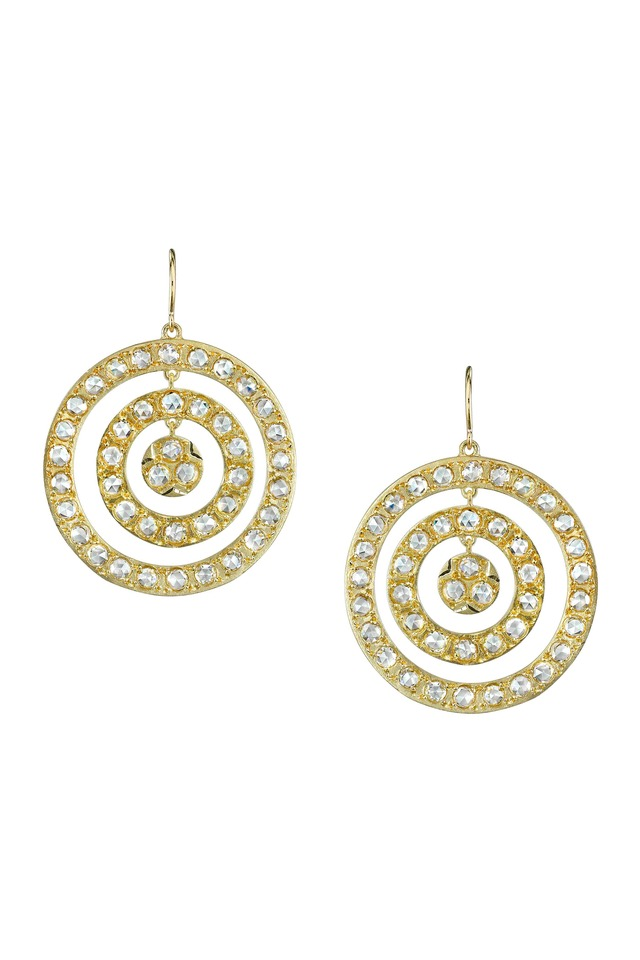 Gold Triple Circle Diamond Earrings