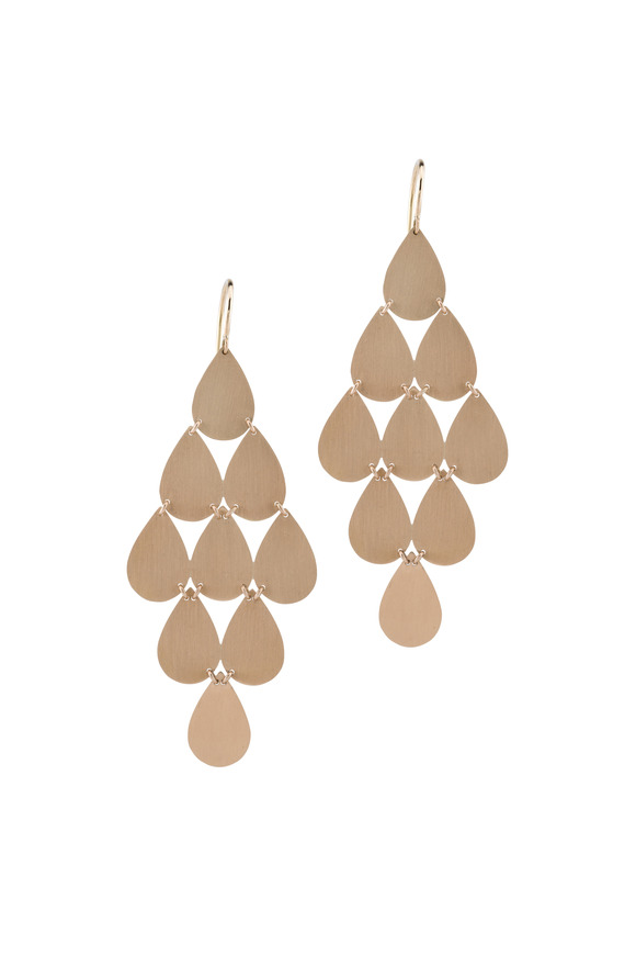 Irene Neuwirth 18K Rose Gold Teardrop Chandelier Earrings