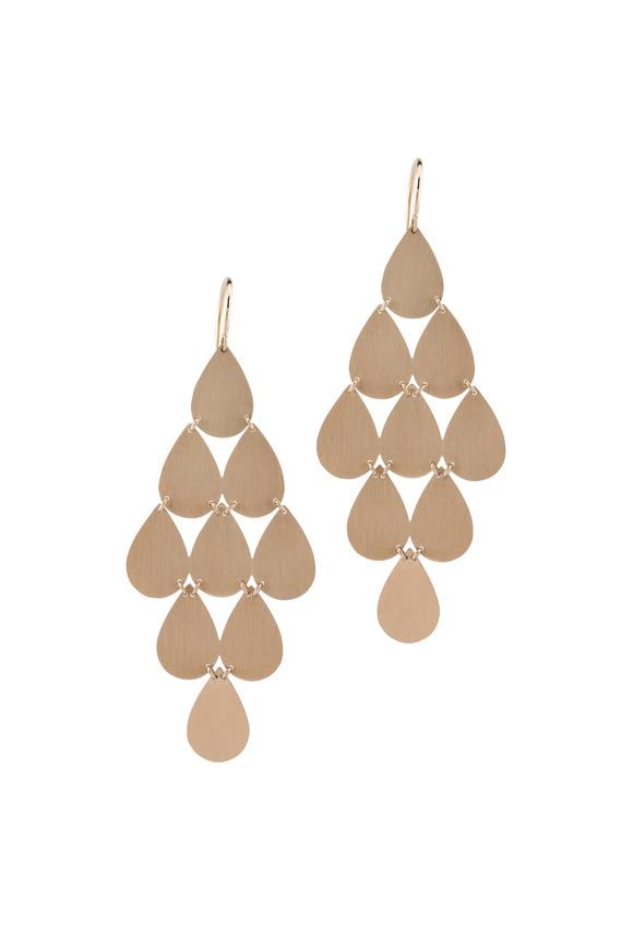 Irene Neuwirth 18K Rose Gold Teardrop Chandelier Earrings