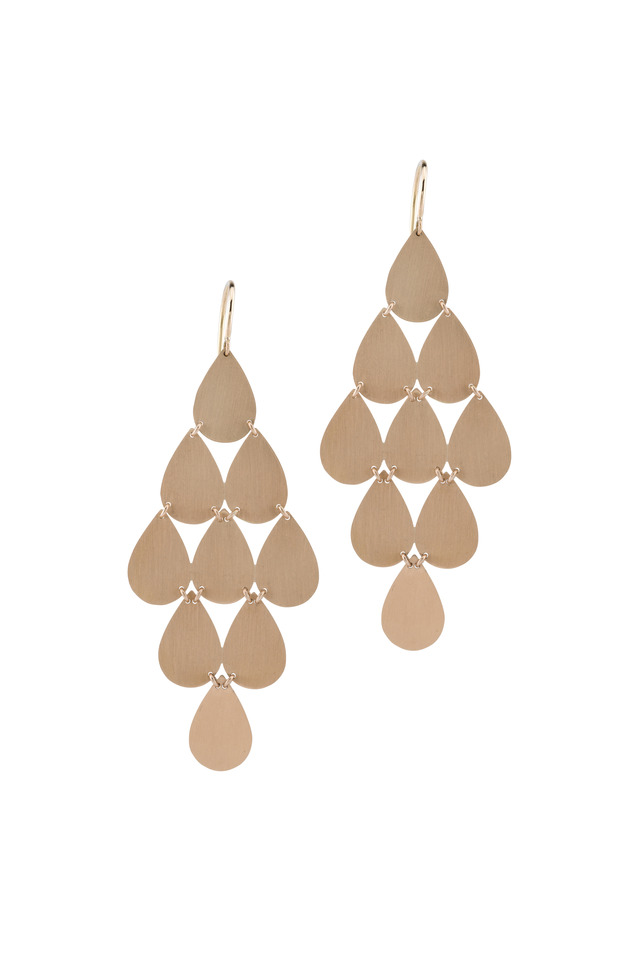 18K Rose Gold Teardrop Chandelier Earrings