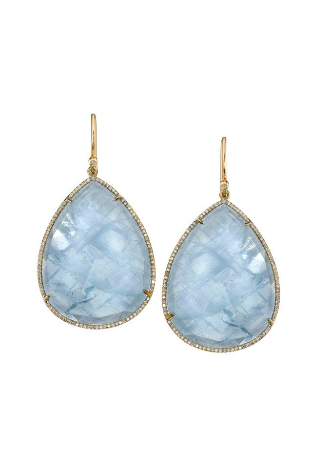 Gold Pear-Shape Aquamarine Drop Earrings