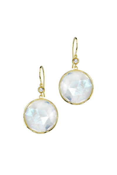 Irene Neuwirth - Gold Rose-Cut Rainbow Moonstone Diamond Earrings