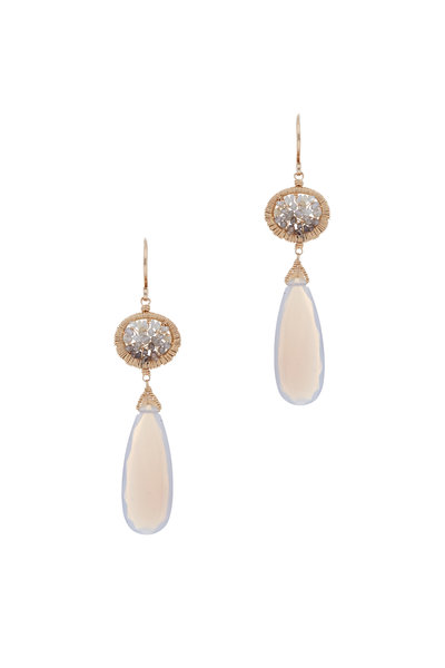 Dana Kellin - 14K Yellow Gold Gray Chalcedony & Diamond Earrings