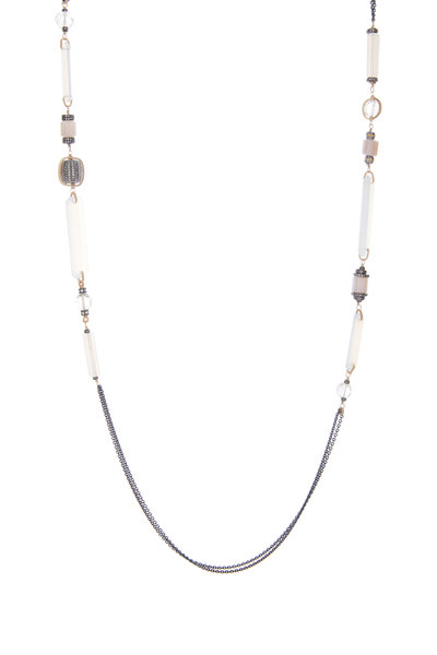 Dana Kellin - 14K Gold & Silver Chalcedony Pavé Diamond Chain