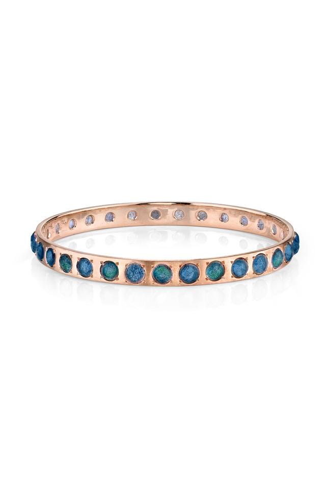 Rose Gold Labradorite Bangle Bracelet