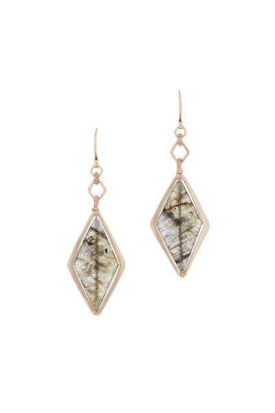 Dana Kellin - 14K Yellow Gold Marquise Labradorite Drop Earrings