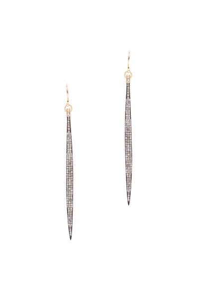 Dana Kellin - 14K Gold & Silver Pavé Diamond Long Bar Earrings