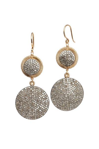 Dana Kellin - 14K Gold & Silver Pavé Diamond Circle Earrings