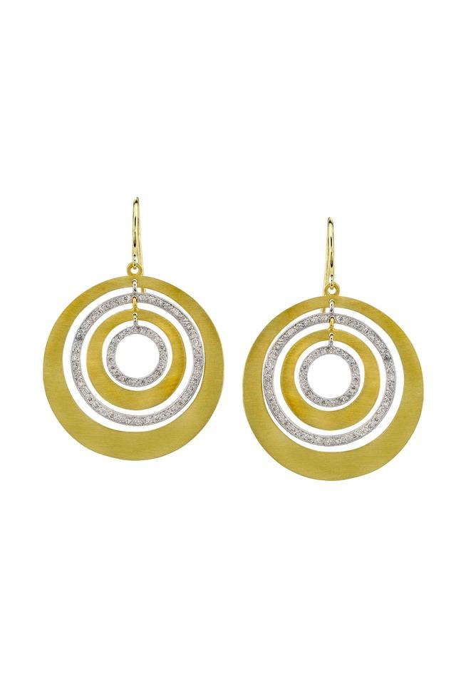 Gold Quadruple Ring Diamond Earrings