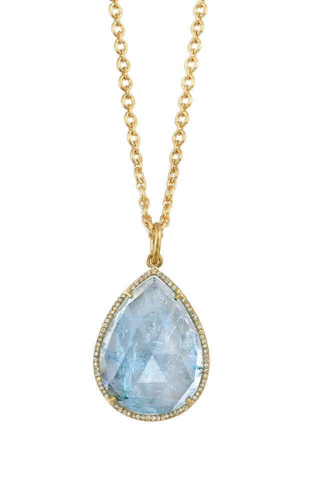18K Gold Aquamarine Diamond Pendant Necklace