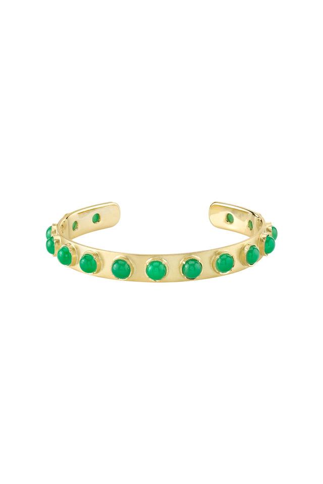 Gold Chrysoprase Moonstone Cuff Bracelet