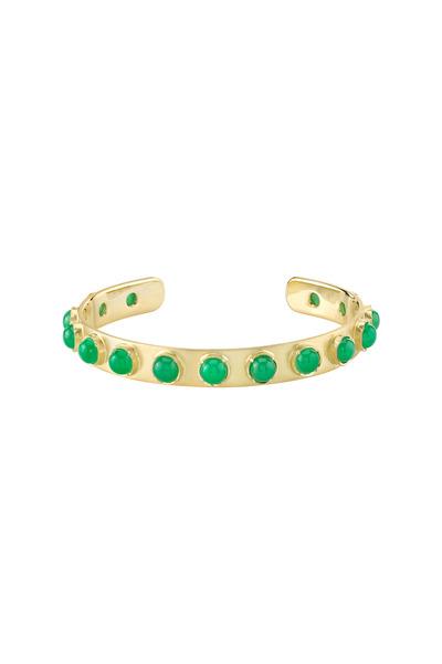 Irene Neuwirth - Gold Chrysoprase Moonstone Cuff Bracelet