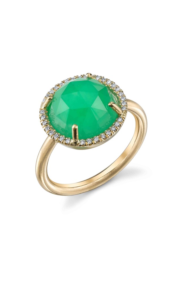 Gold Rose-Cut Chrysoprase Diamond Ring