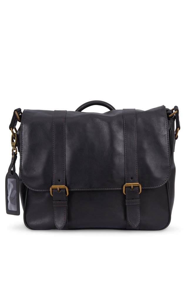 Tacconi Black Leather Messenger Bag