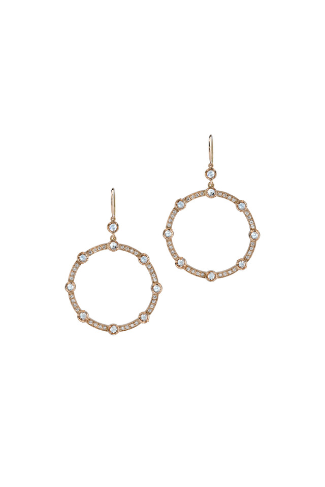 18K Rose Gold Pavé Diamond Earrings