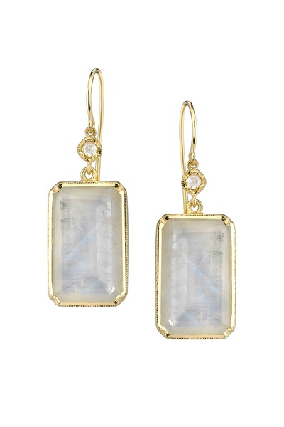 Irene Neuwirth - Rainbow Moonstone Rectanglular Dangle Earrings