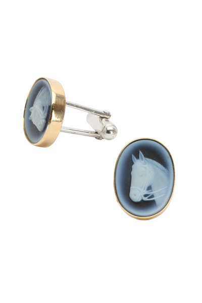 Syna - 18K Yellow Gold Horse Cameo Cuff Links