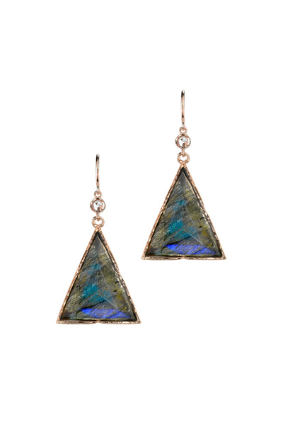 Irene Neuwirth - Rose Gold Labradorite Diamond Dangle Earrings