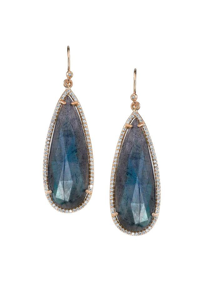 Gold Teardrop Labradorite Diamond Earrings