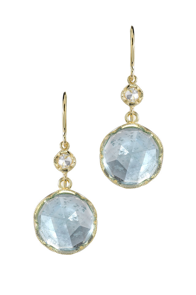 Gold Rainbow Moonstone Round Drop Earrings
