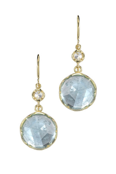 Irene Neuwirth - Gold Rainbow Moonstone Round Drop Earrings
