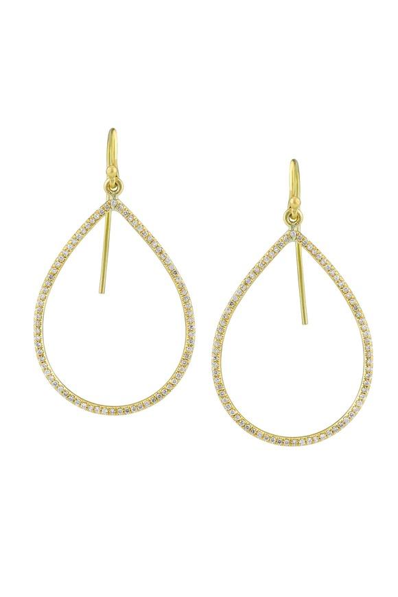 Irene Neuwirth Yellow Gold Pear-Shaped Diamond Earrings