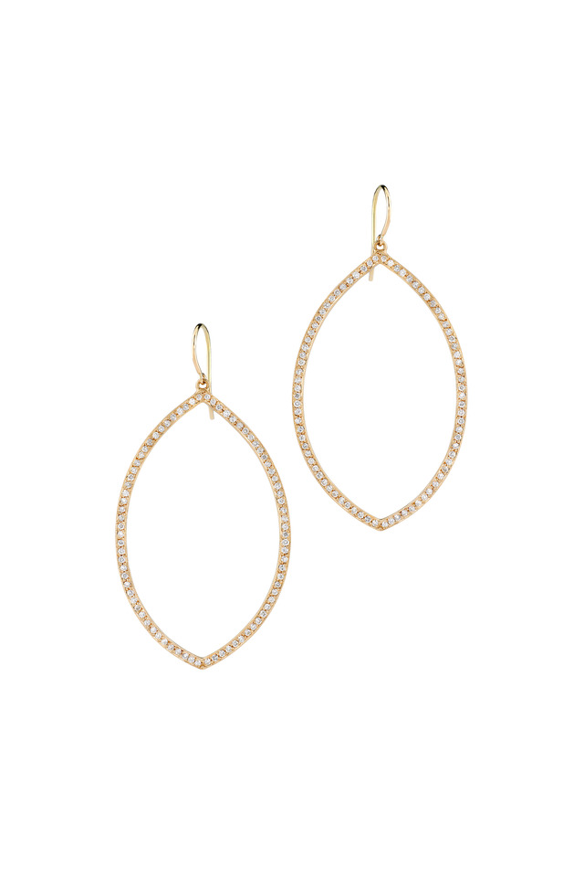 Rose Gold Marquise Pavé-Set Diamond Earrings