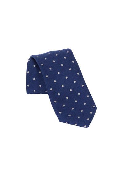 Eton - Navy Blue Dot Wool & Silk Necktie