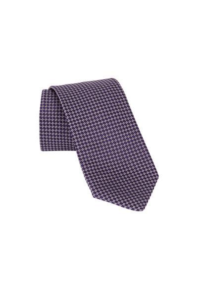 Eton - Purple Geometric Silk Necktie